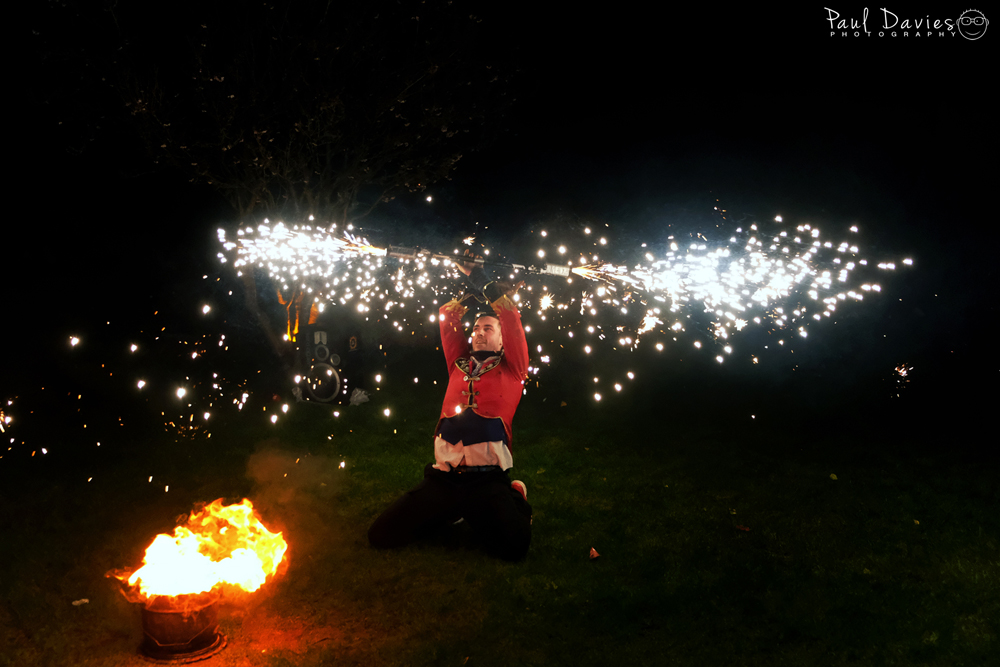Fire spinners at the Oxwich Bay Hotel