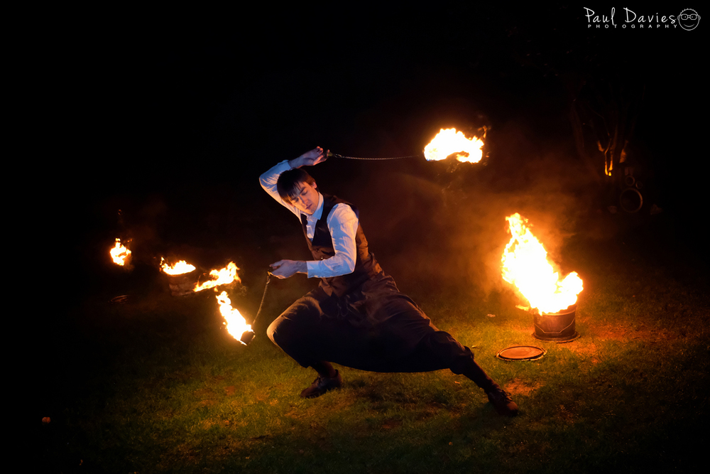 Fire spinners at Oxwich Bay Hotel